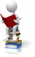 stickman on books reading